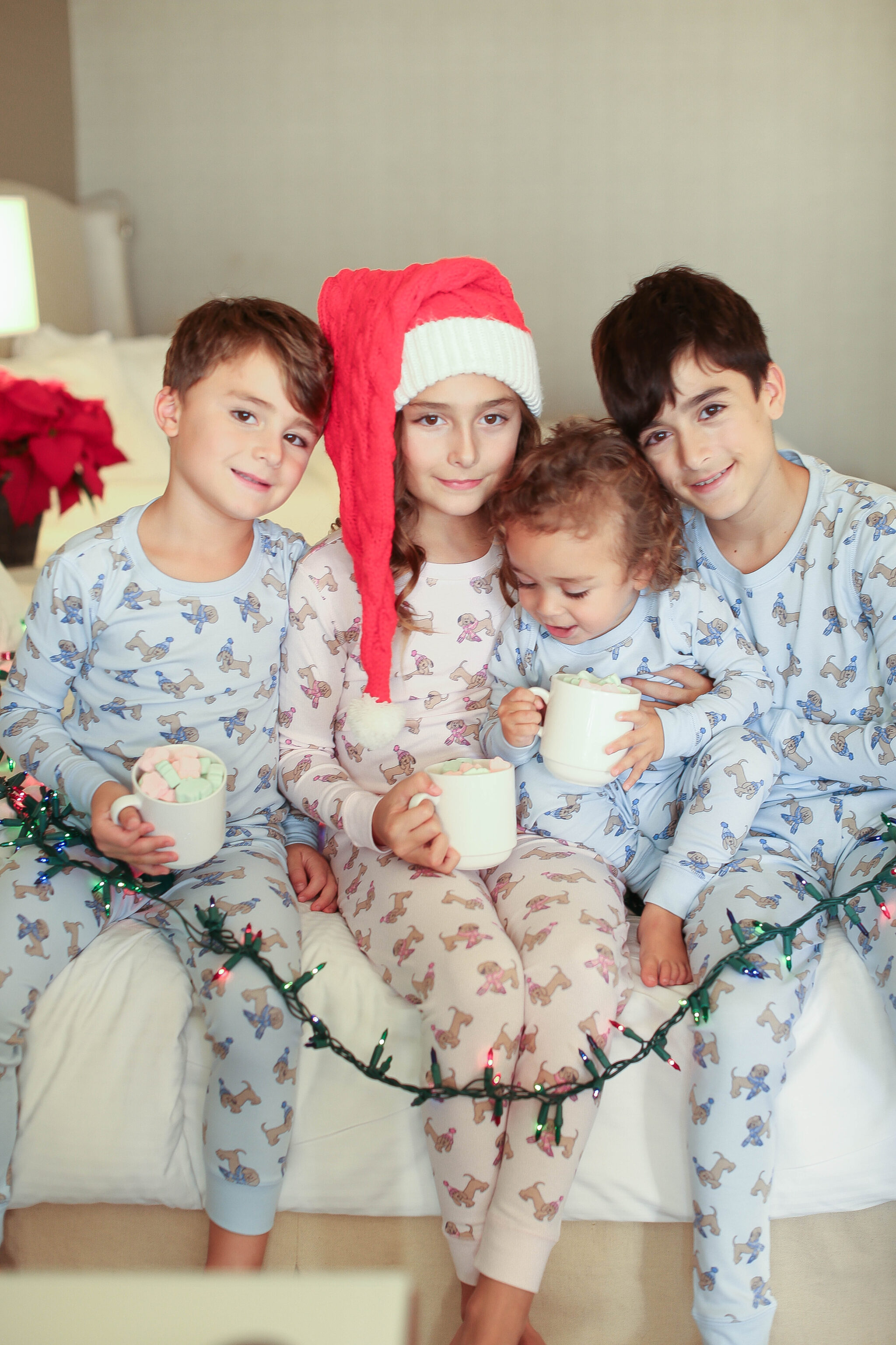 kids in pajamas with hot chocolate