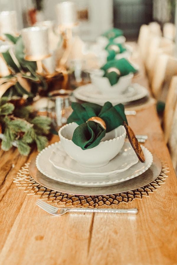 christmas decor on dining table