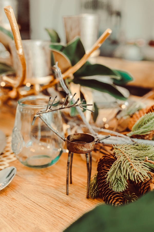 christmas decorations on dining table