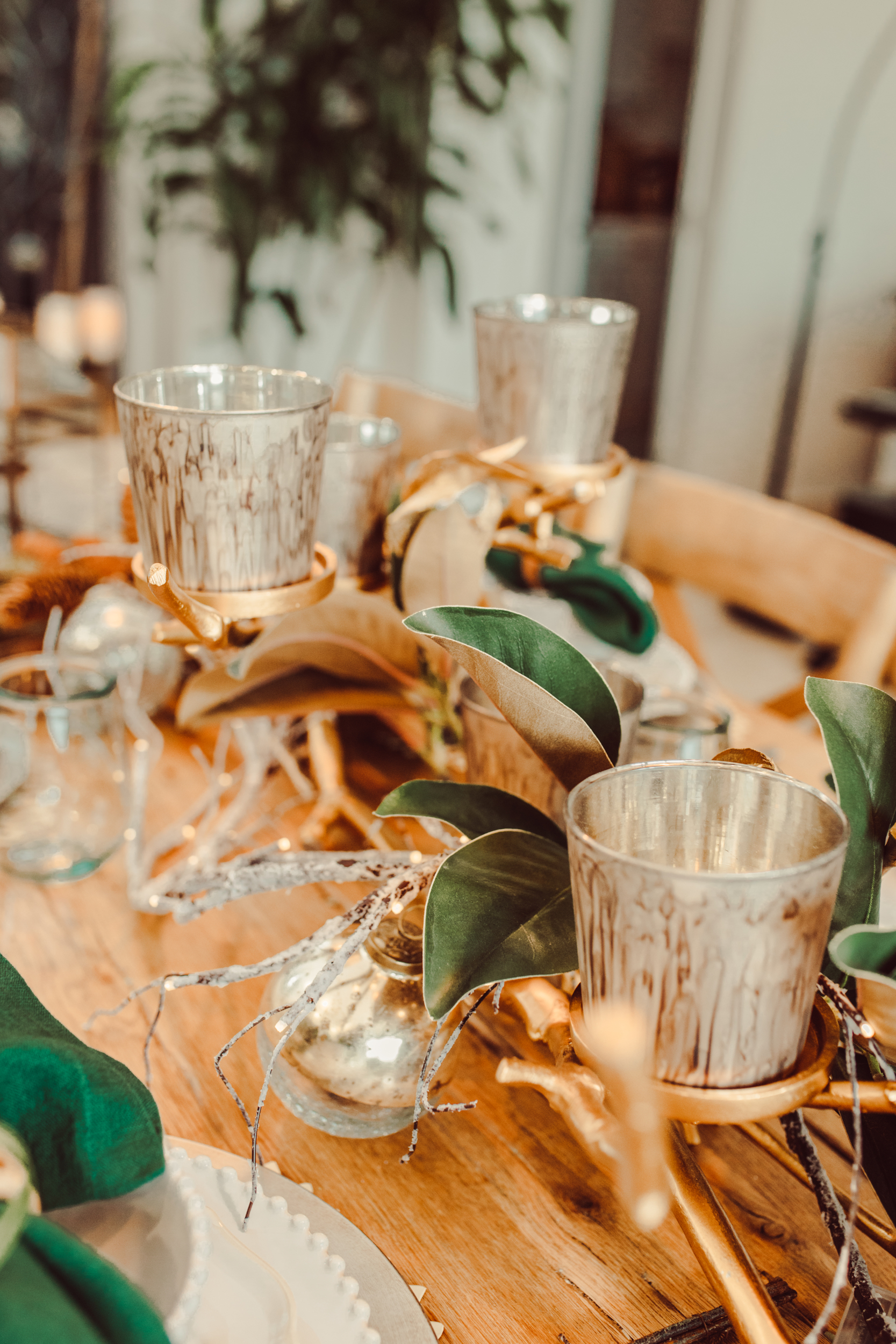 candles and centerpiece