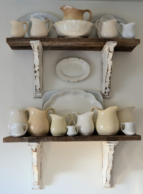 white farmhouse shelves