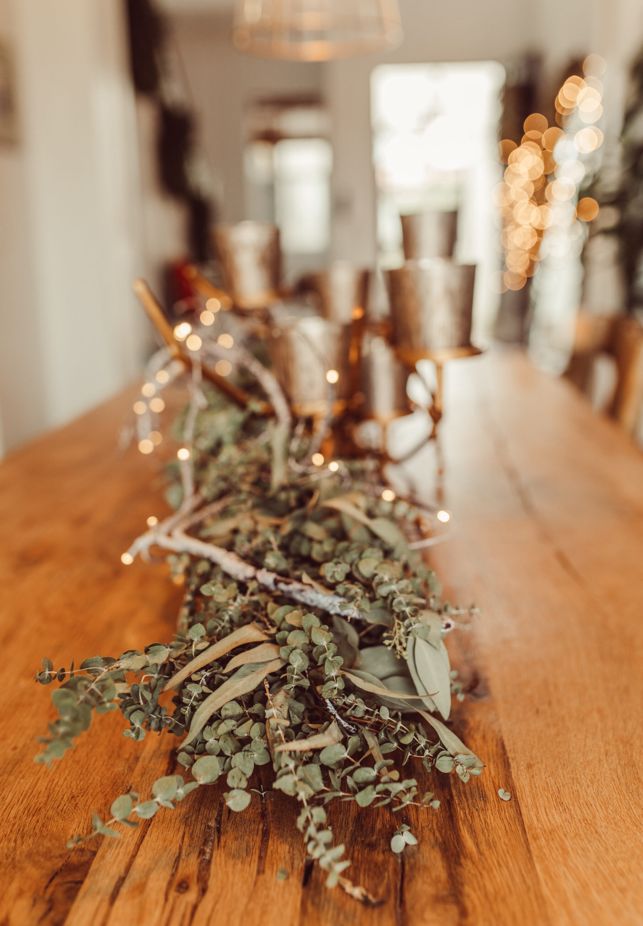 garland centerpiece on table