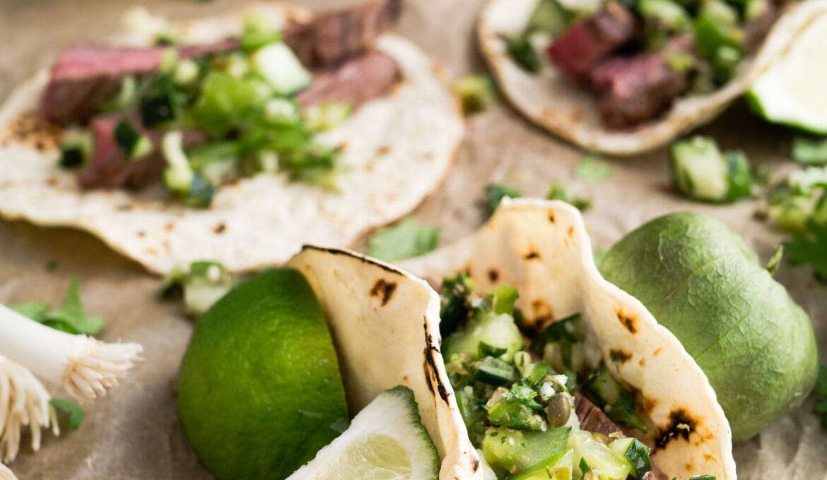 lime and steak tacos