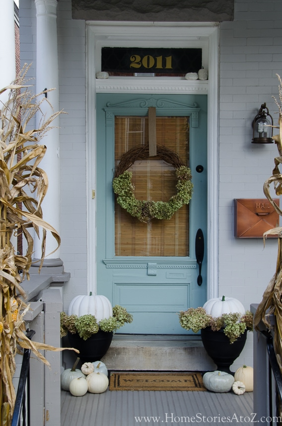 blue old fashioned front door