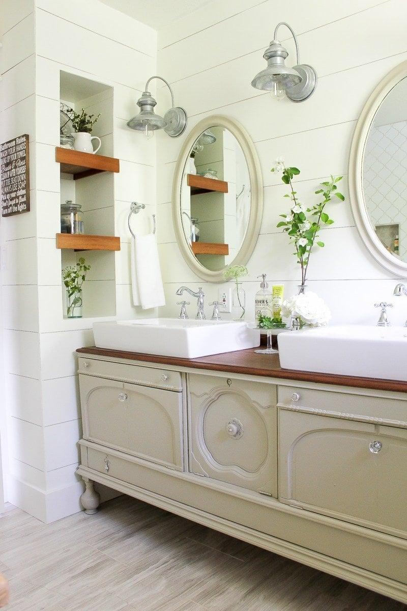 bathroom with green plants