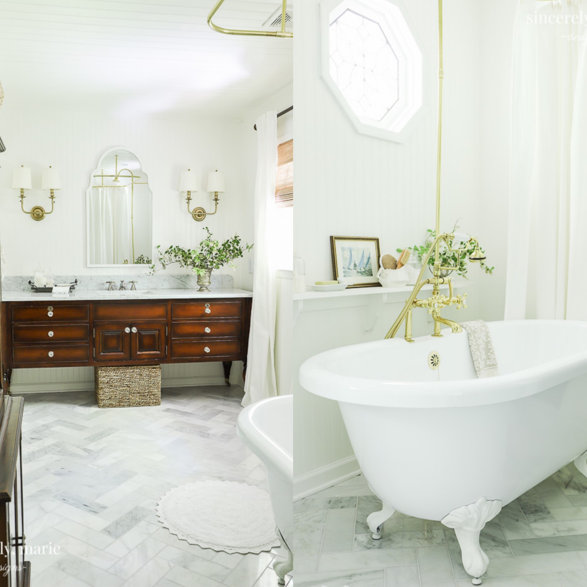 chic farmhouse bathroom with large tub