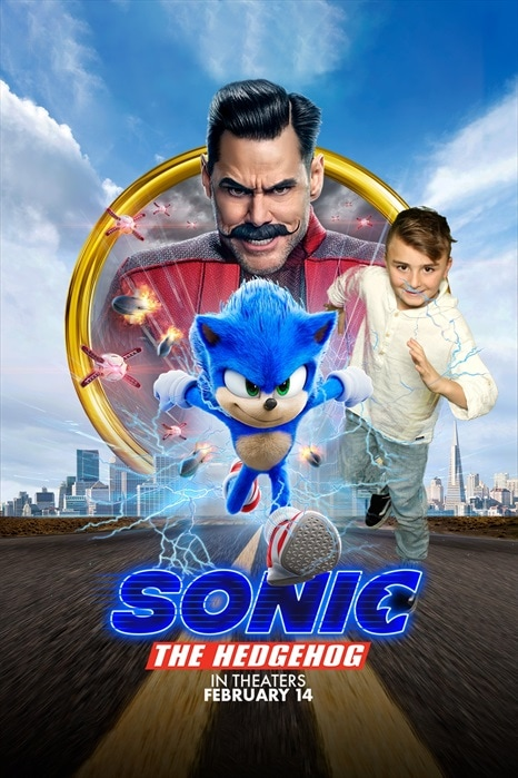 boy in sonic movie poster