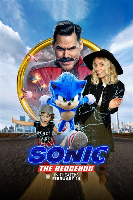 mom and son in sonic poster