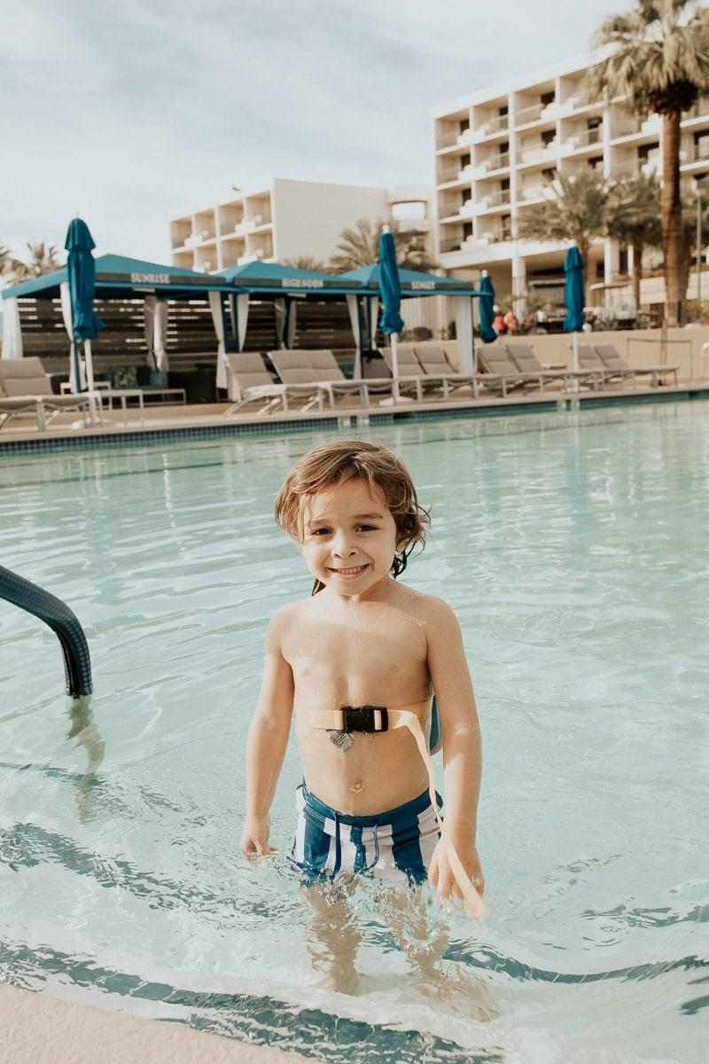 toddler in pool