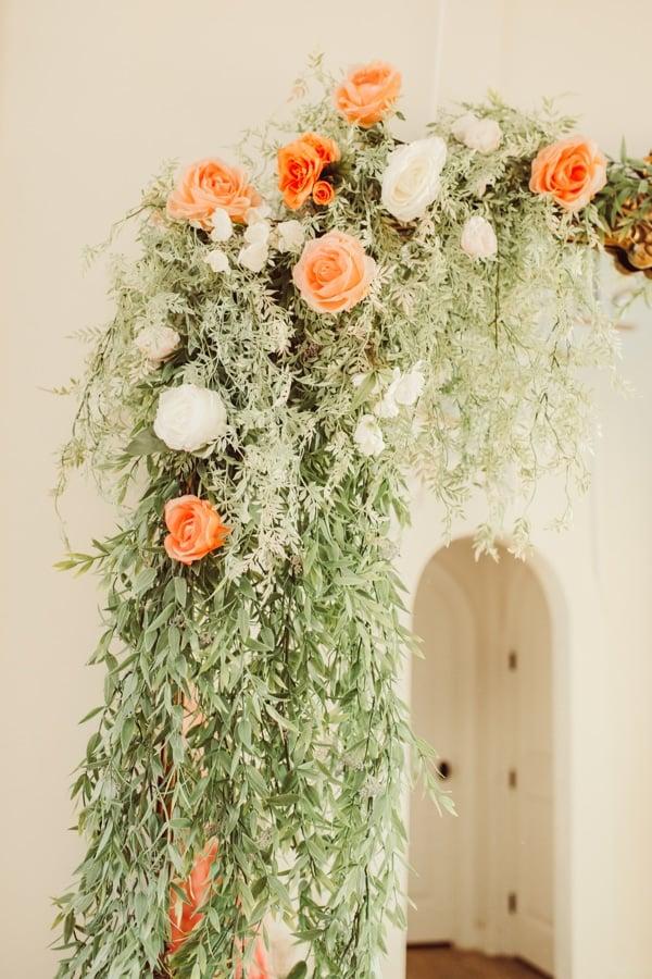 flower garland on mirror