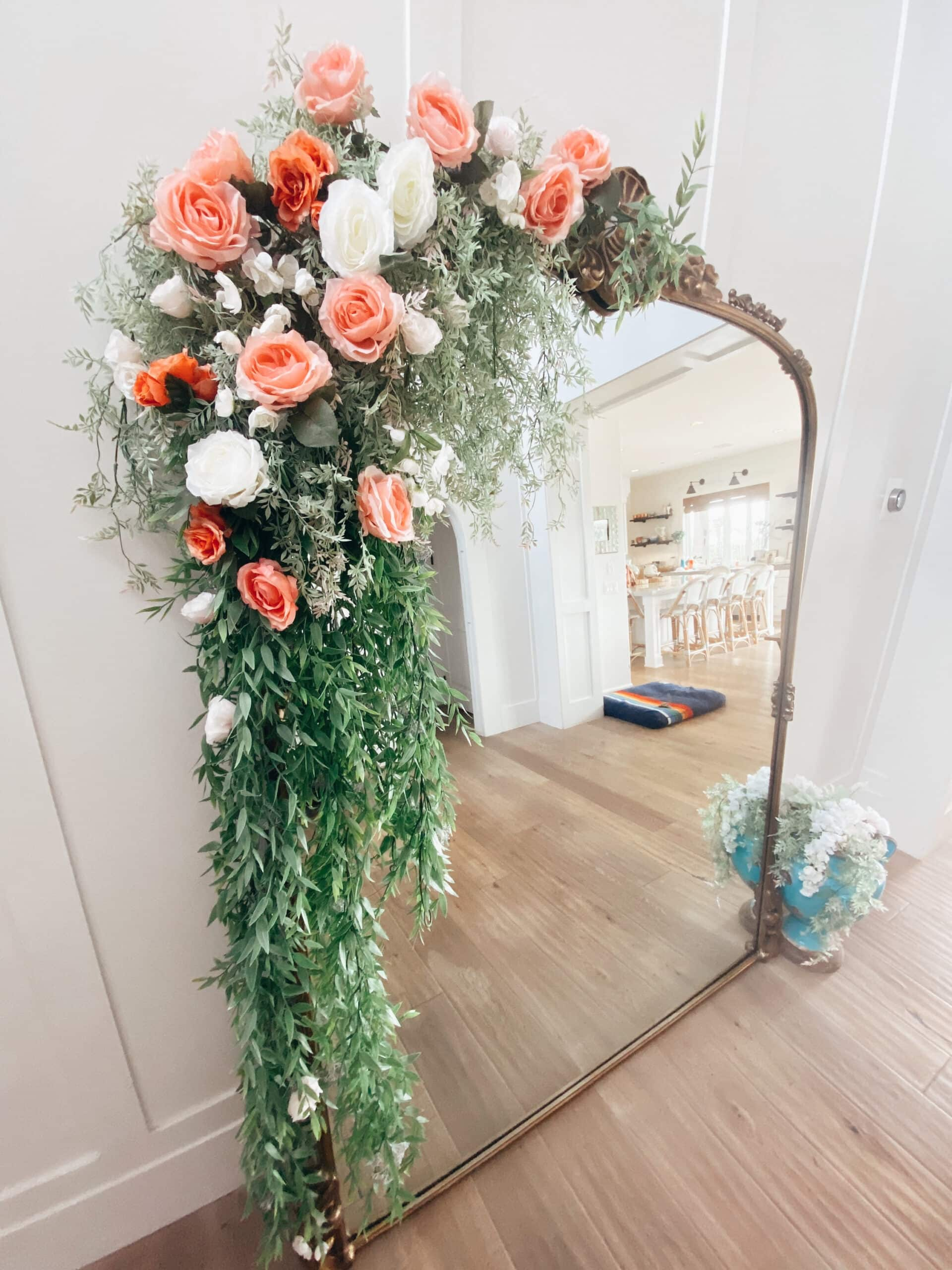 floral arrangement on mirror