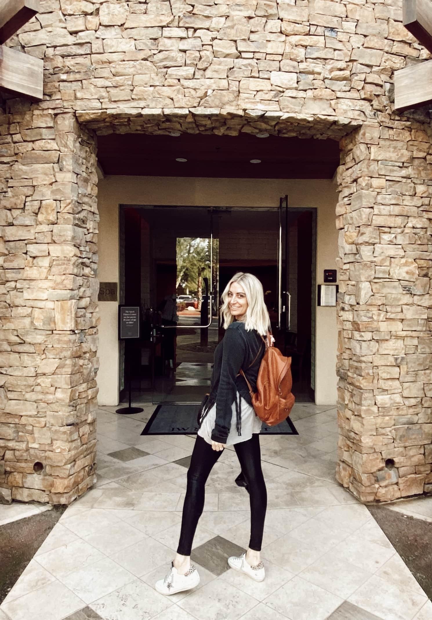 woman walking inside spa