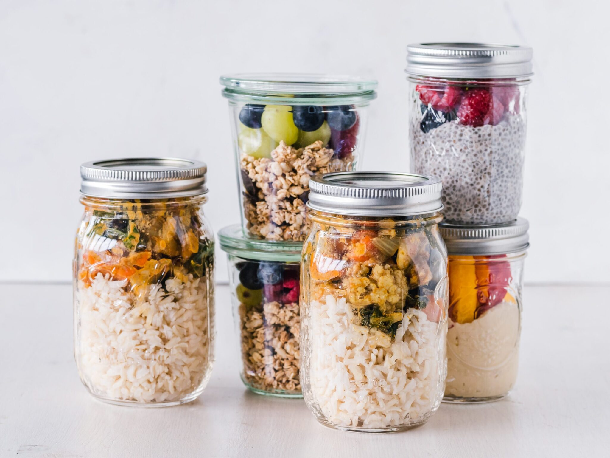 glass jars for meal prep