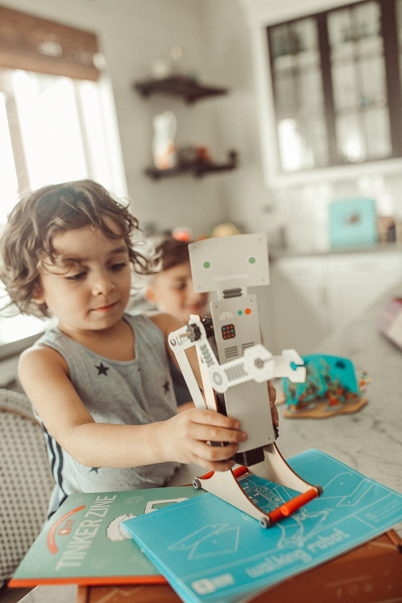 toddler making robot