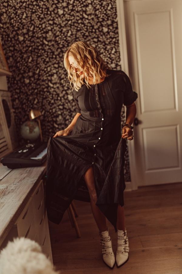 woman posing in dress