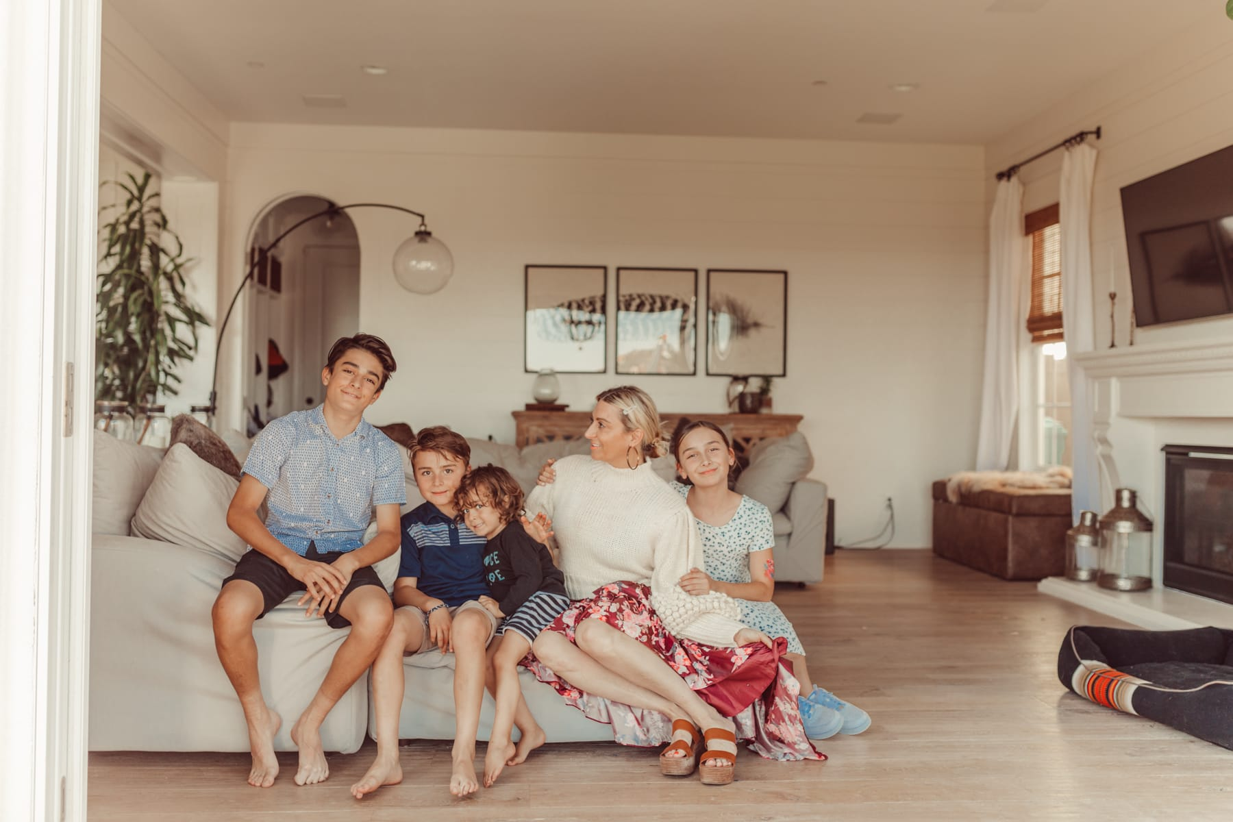 family together in living room