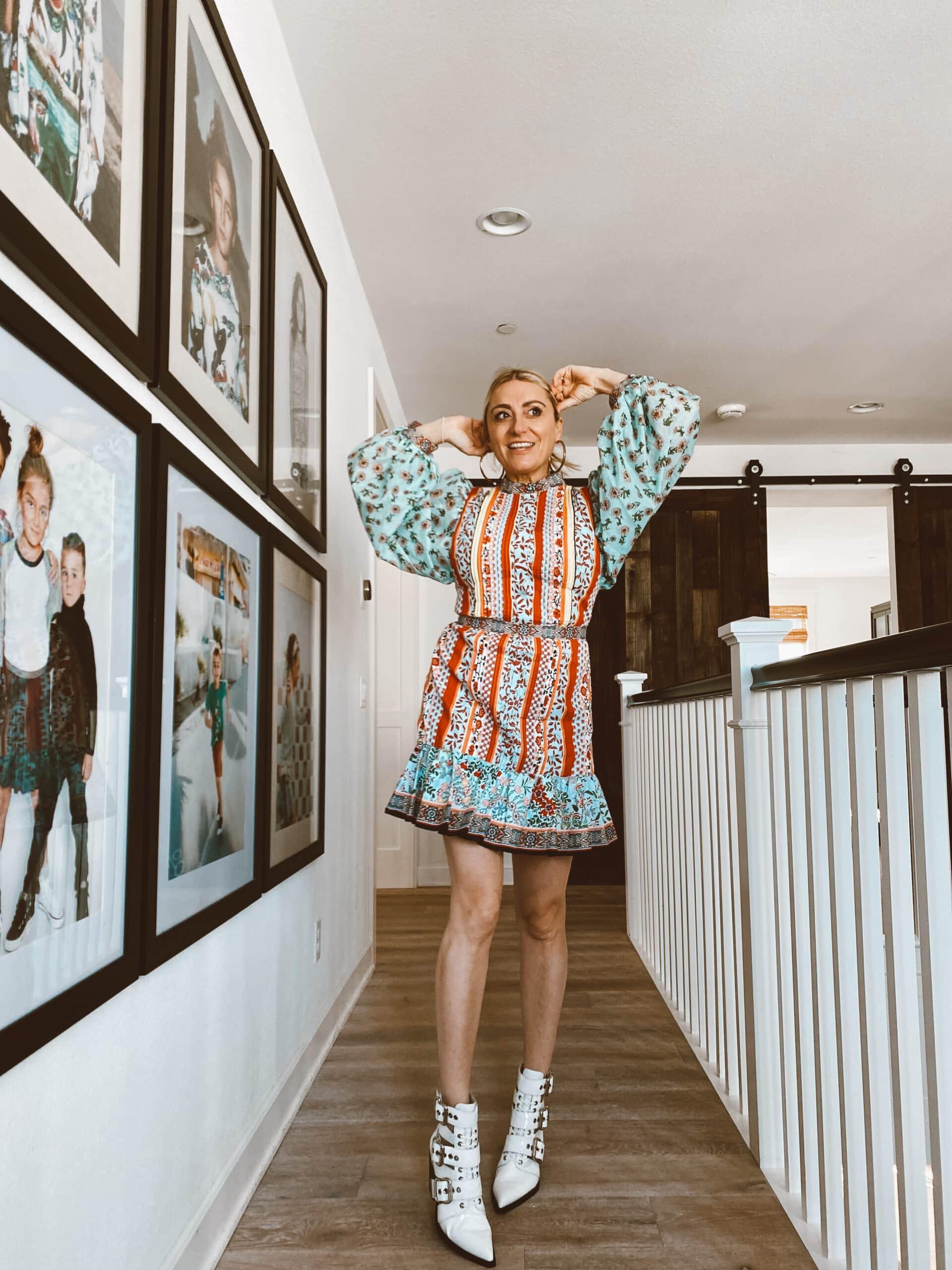 stylish woman in hallway