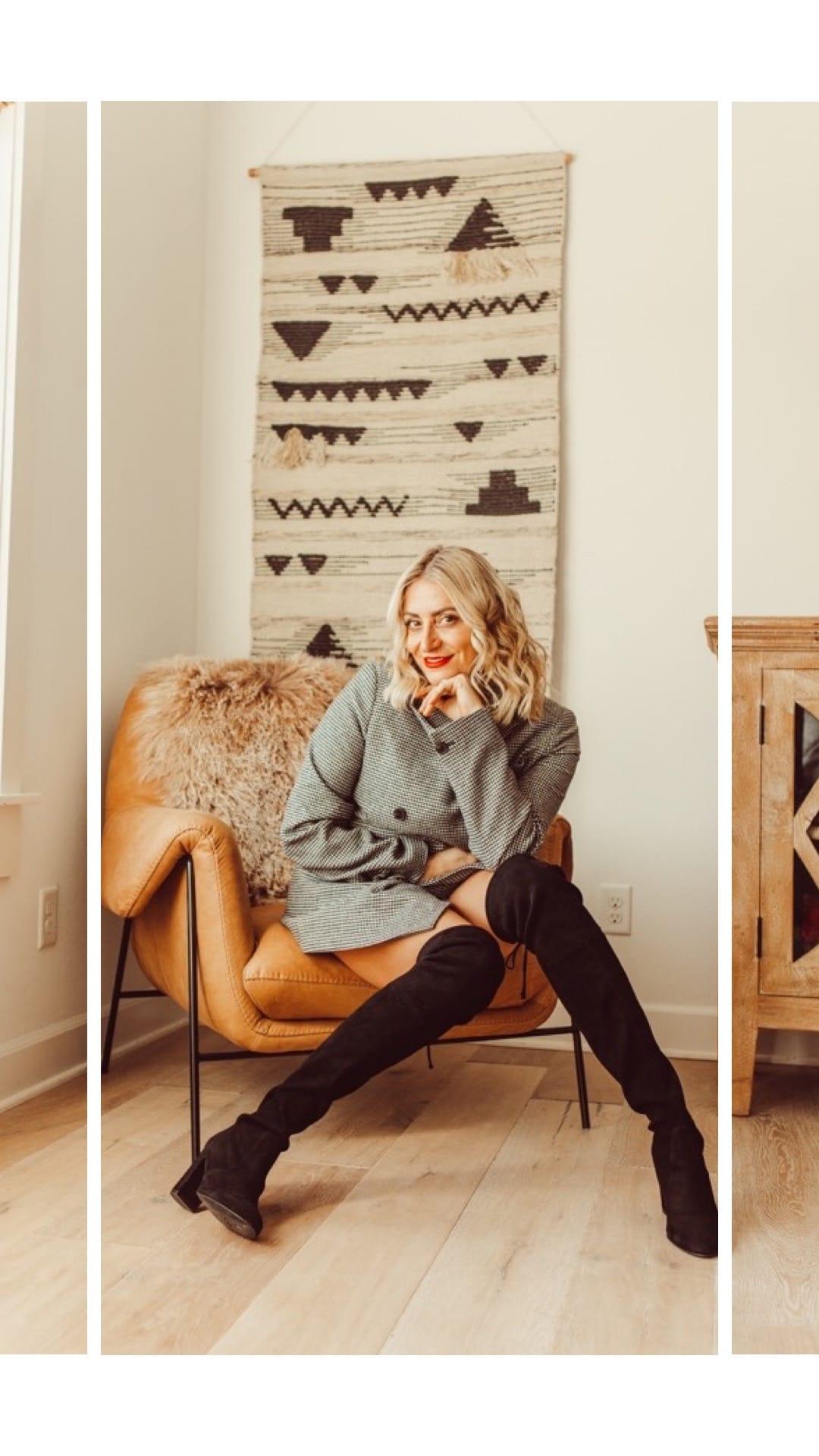 stylish woman on chair