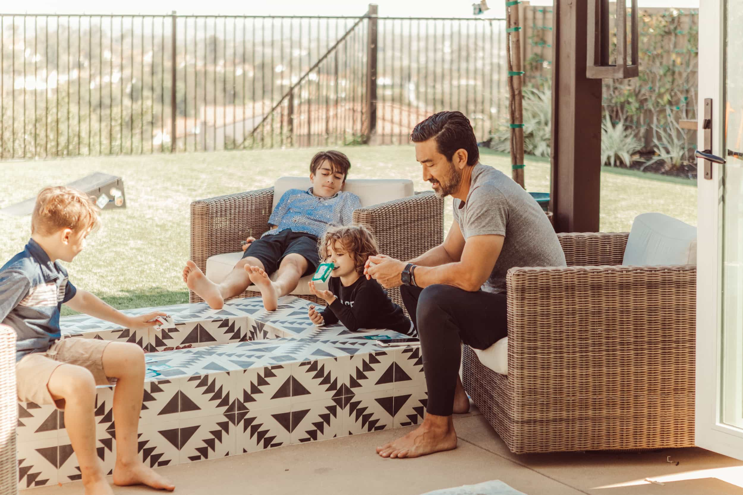 family sitting outside