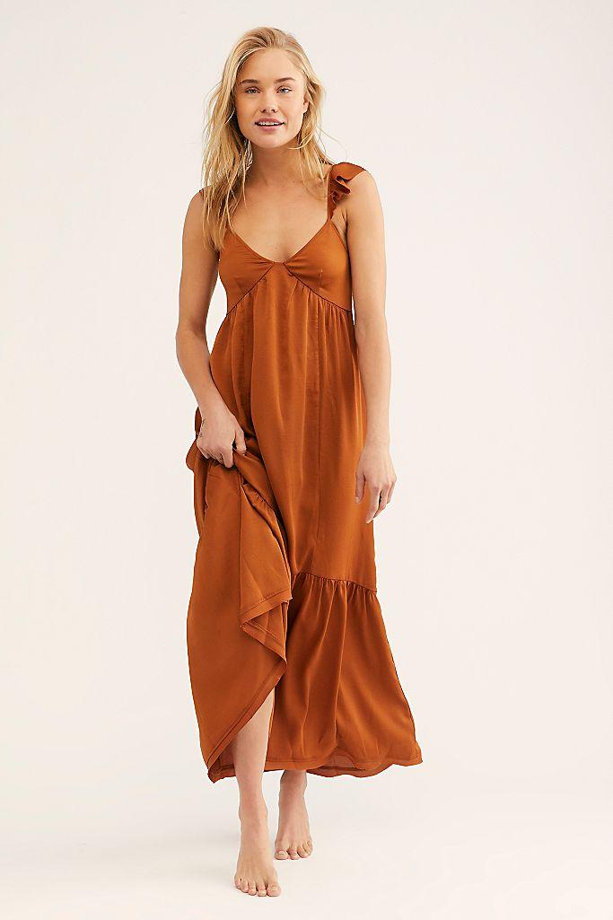 woman in long brown dress