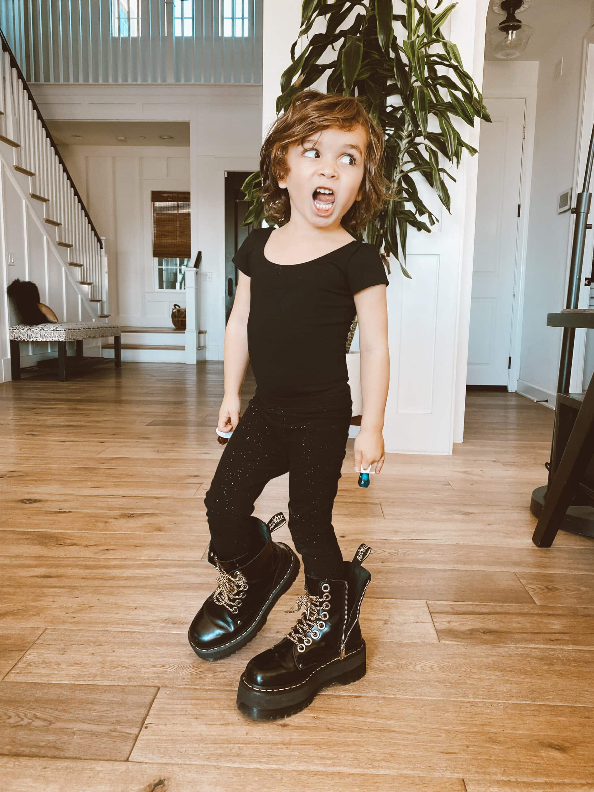 toddler in big boots