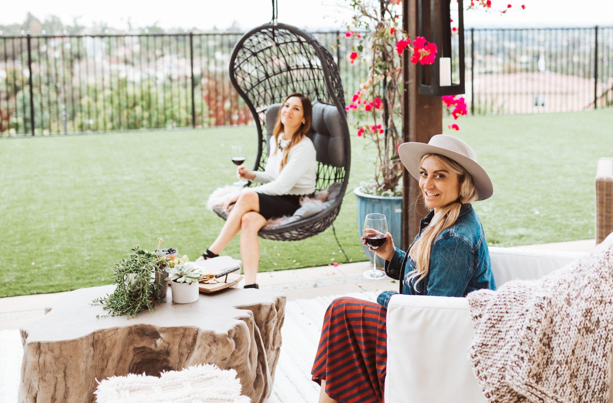 women on patio