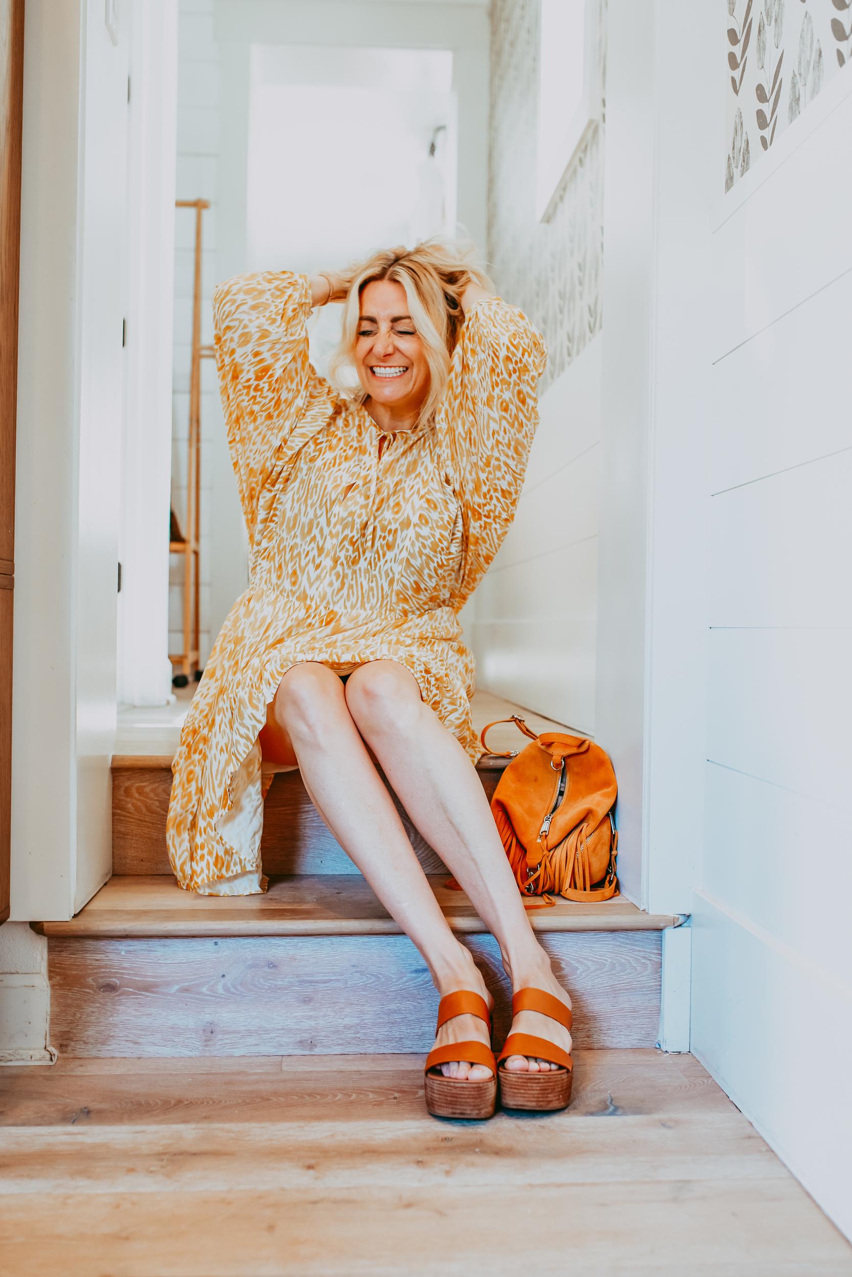 happy stylish woman