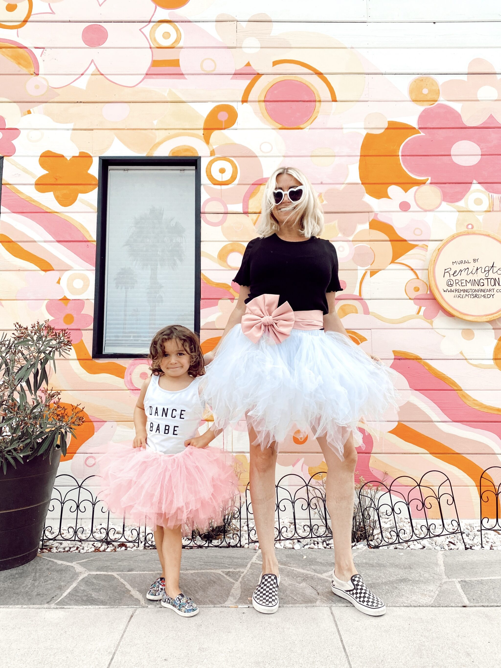 mom and toddler in tutus