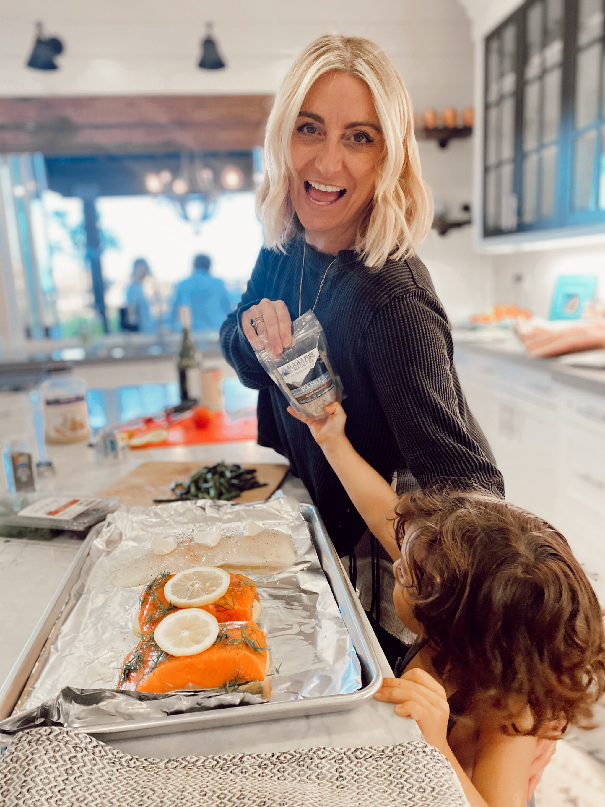 mom and toddler cooking