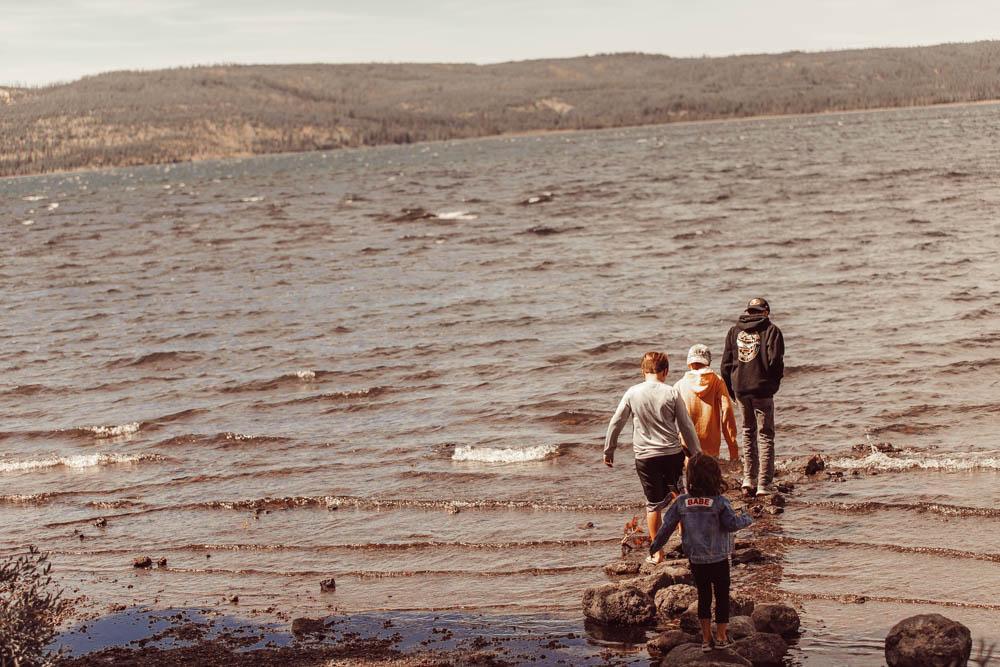 kids walking at the lake