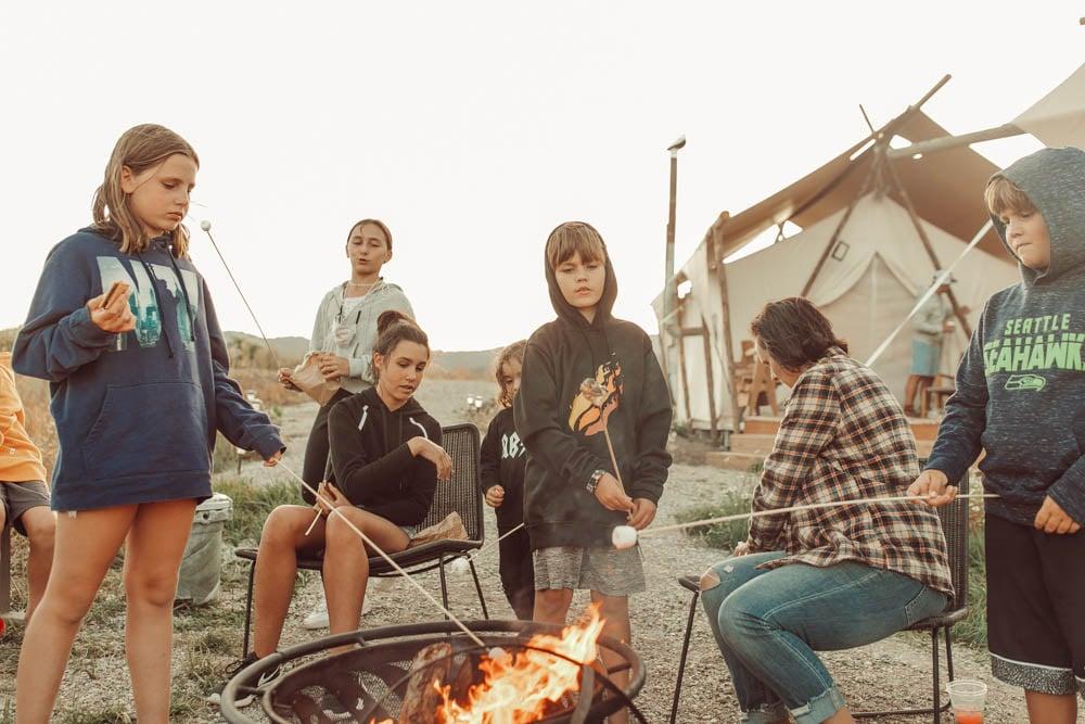 kids around a fire