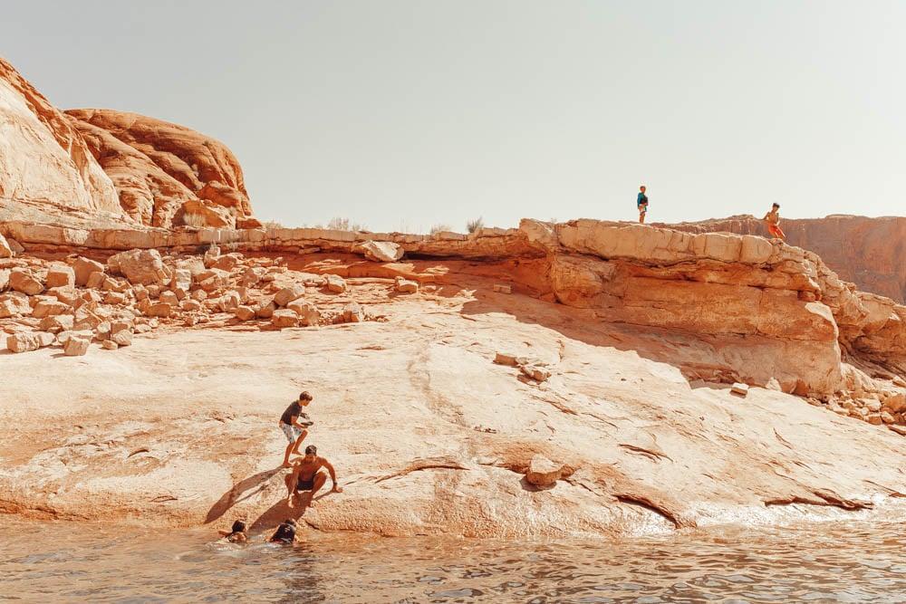 kids climbing rock cliffs