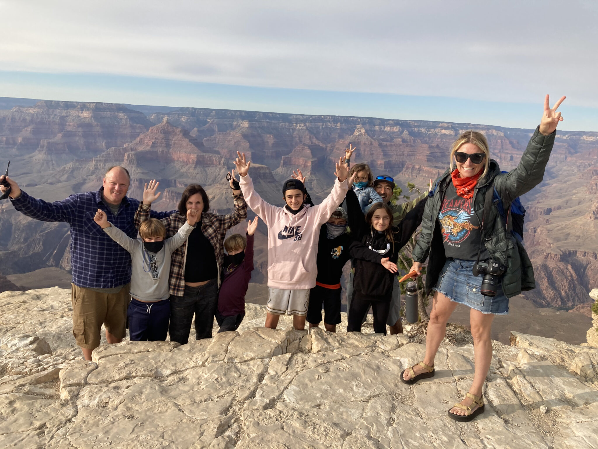 family and friends at the grand canyon