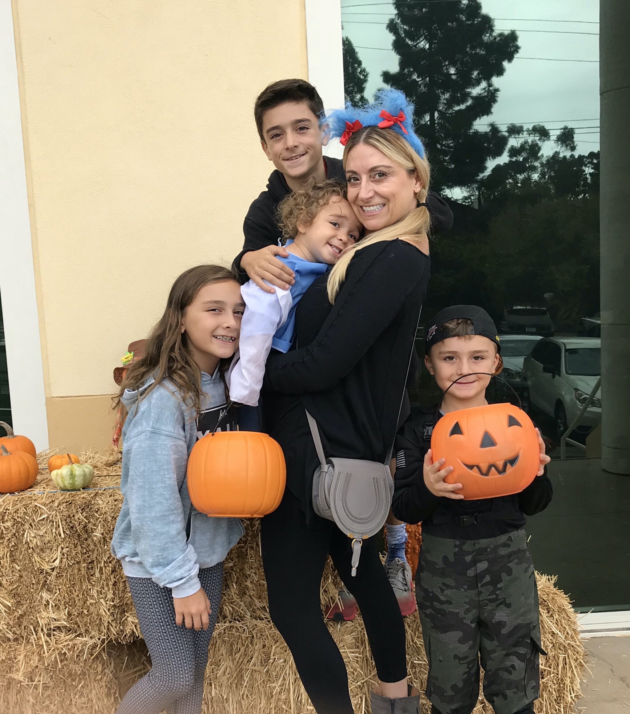 mom and kids at halloween