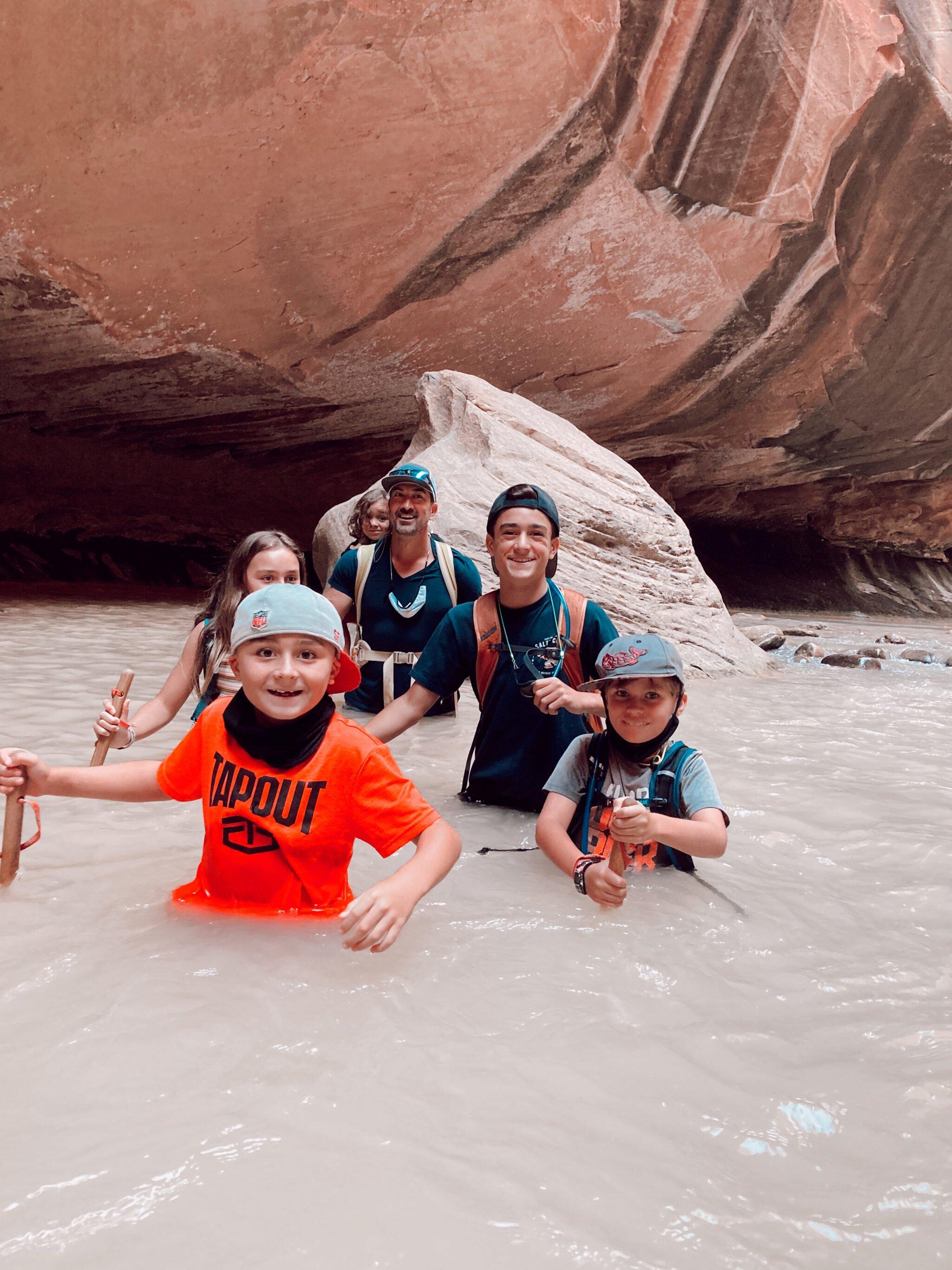 family in river