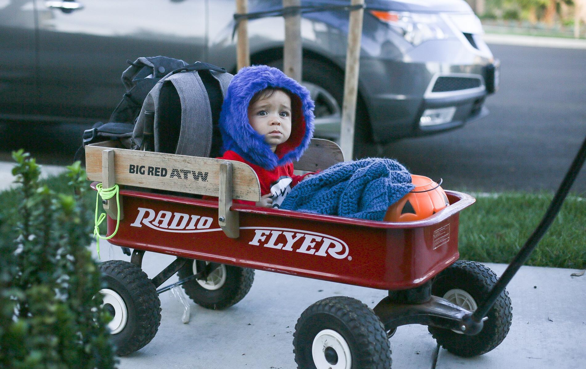 boy in red wagon