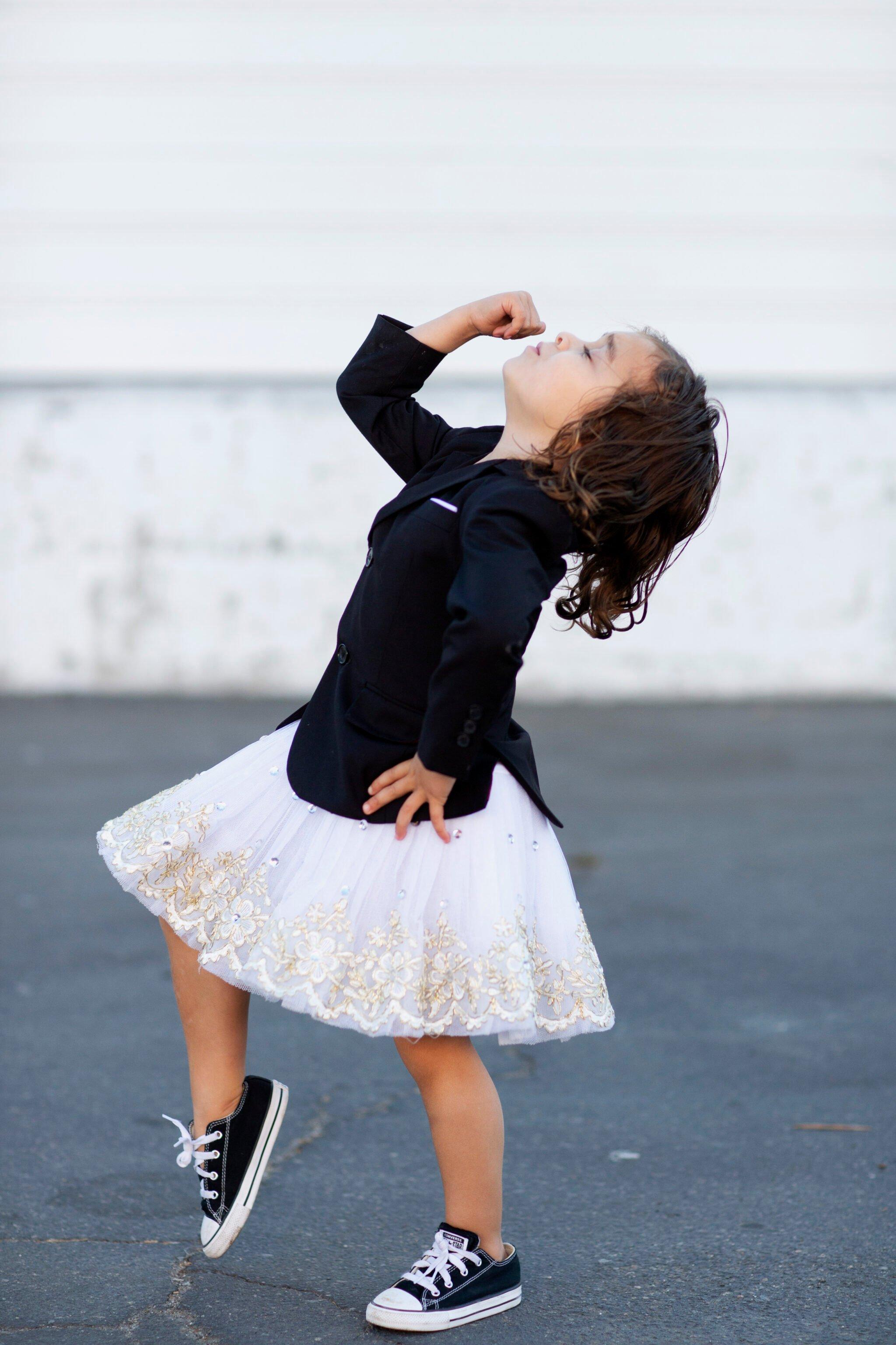 kid dancing in tutu