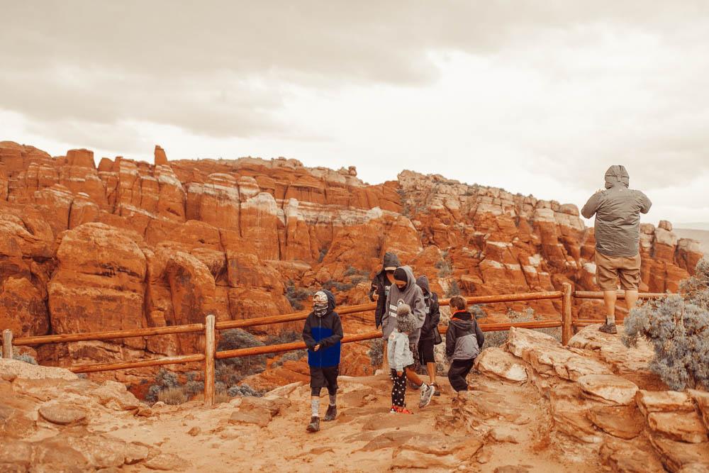 family walking in national park