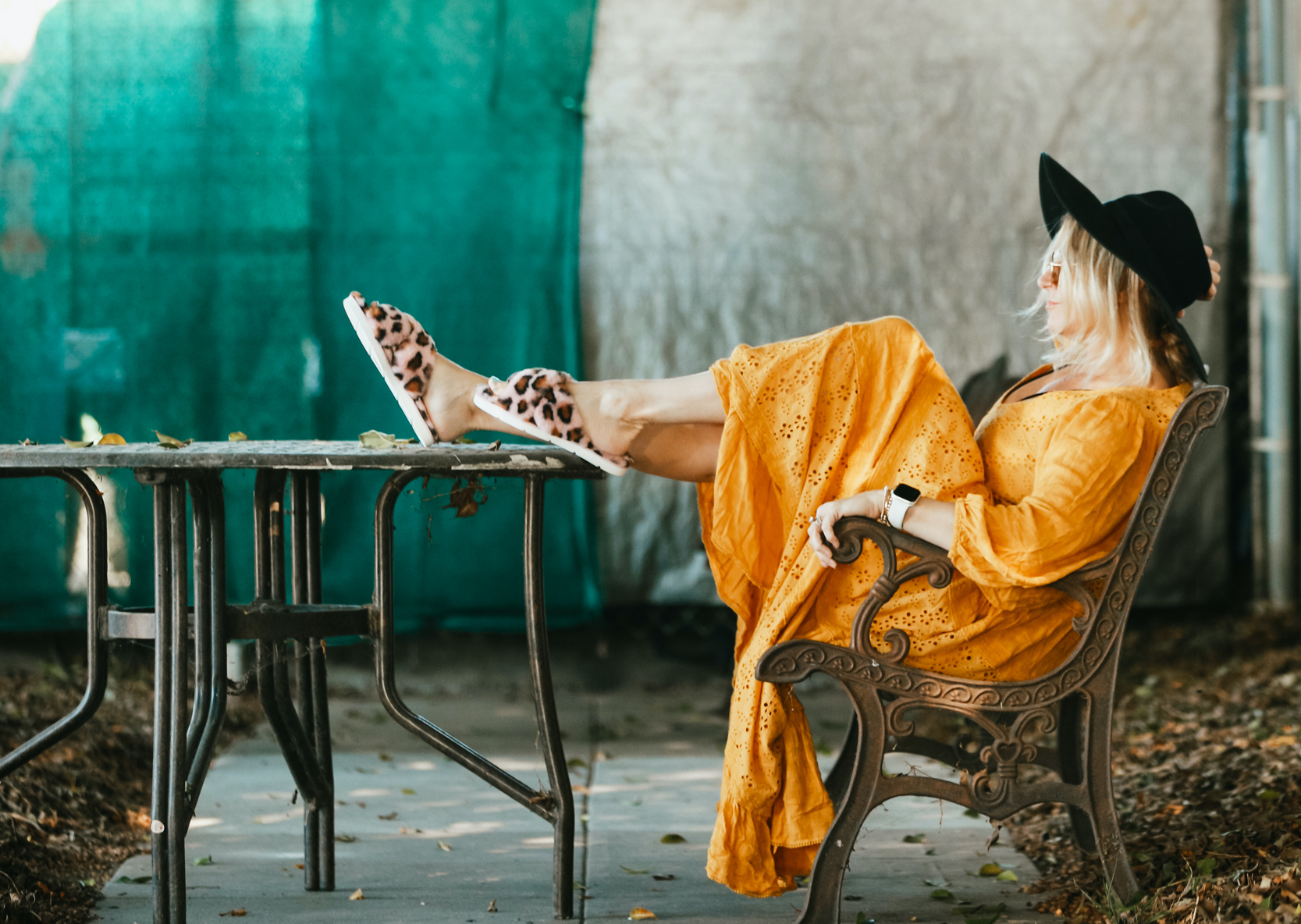 woman sitting with feet up