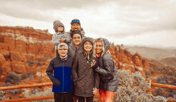 family hiking in moab utah