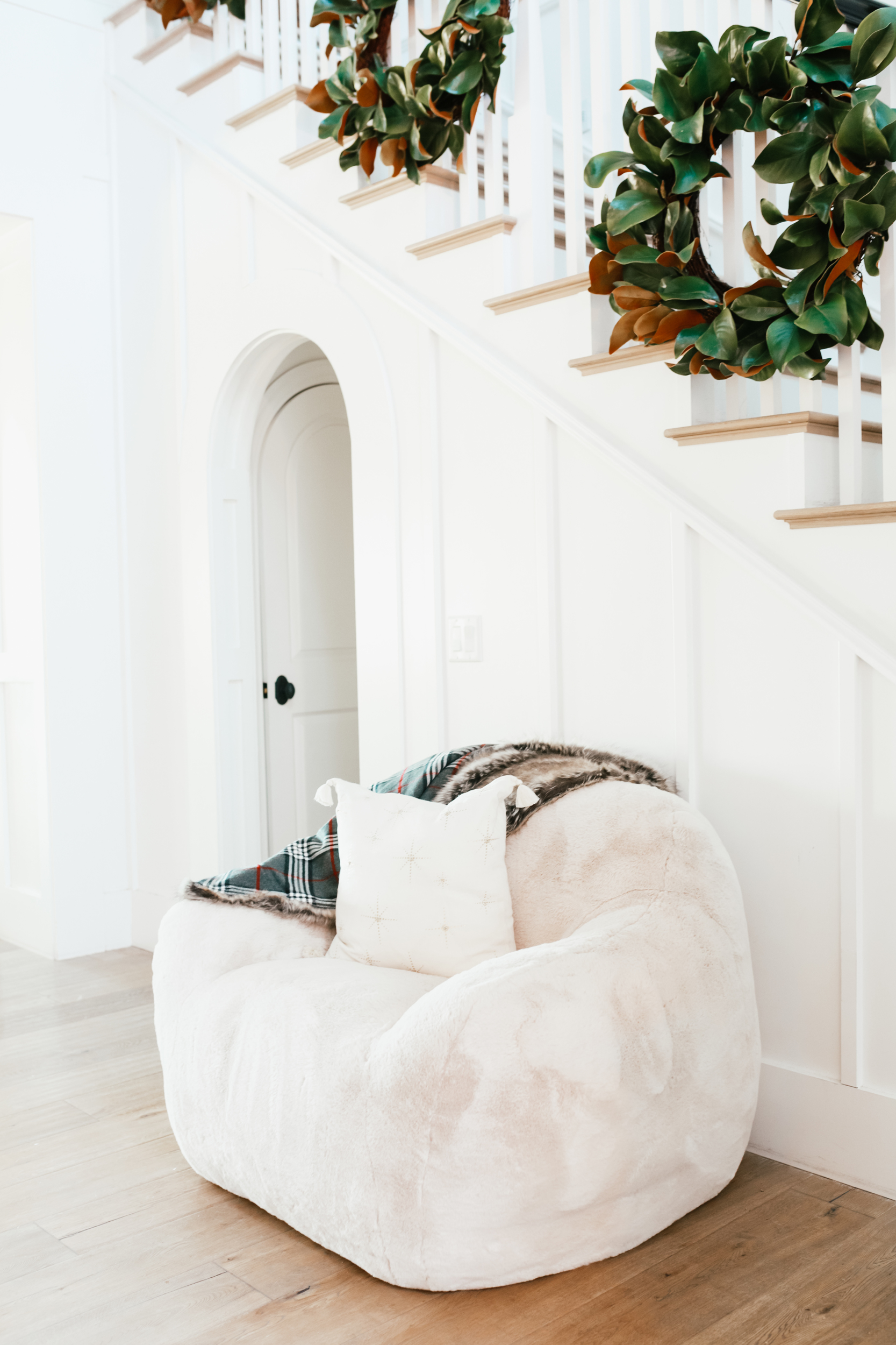 chair under staircase