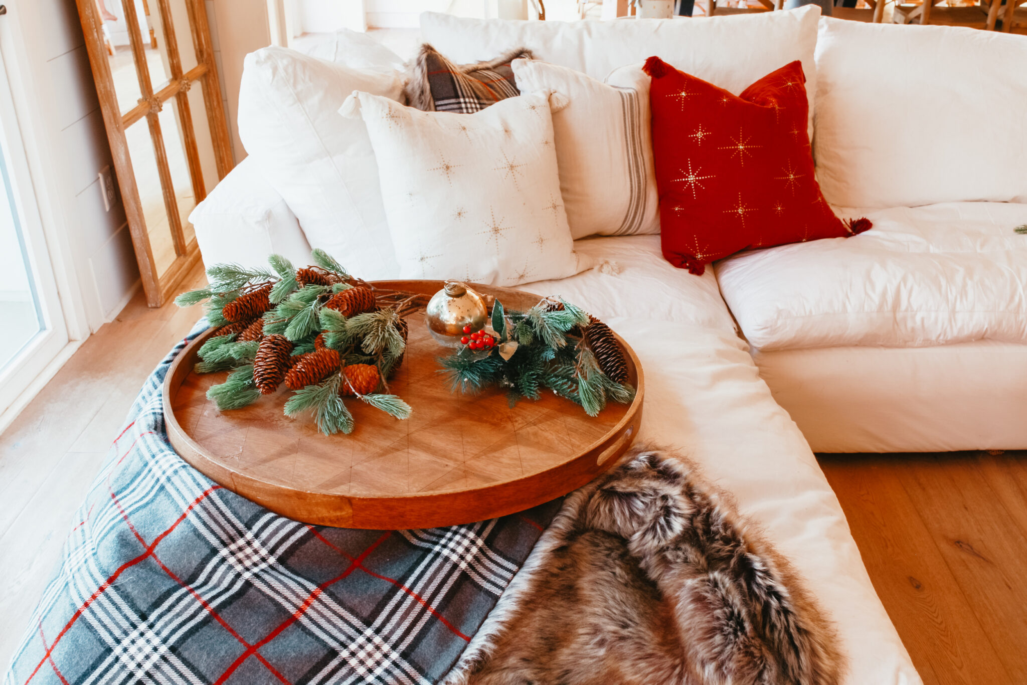 christmas decor on couch