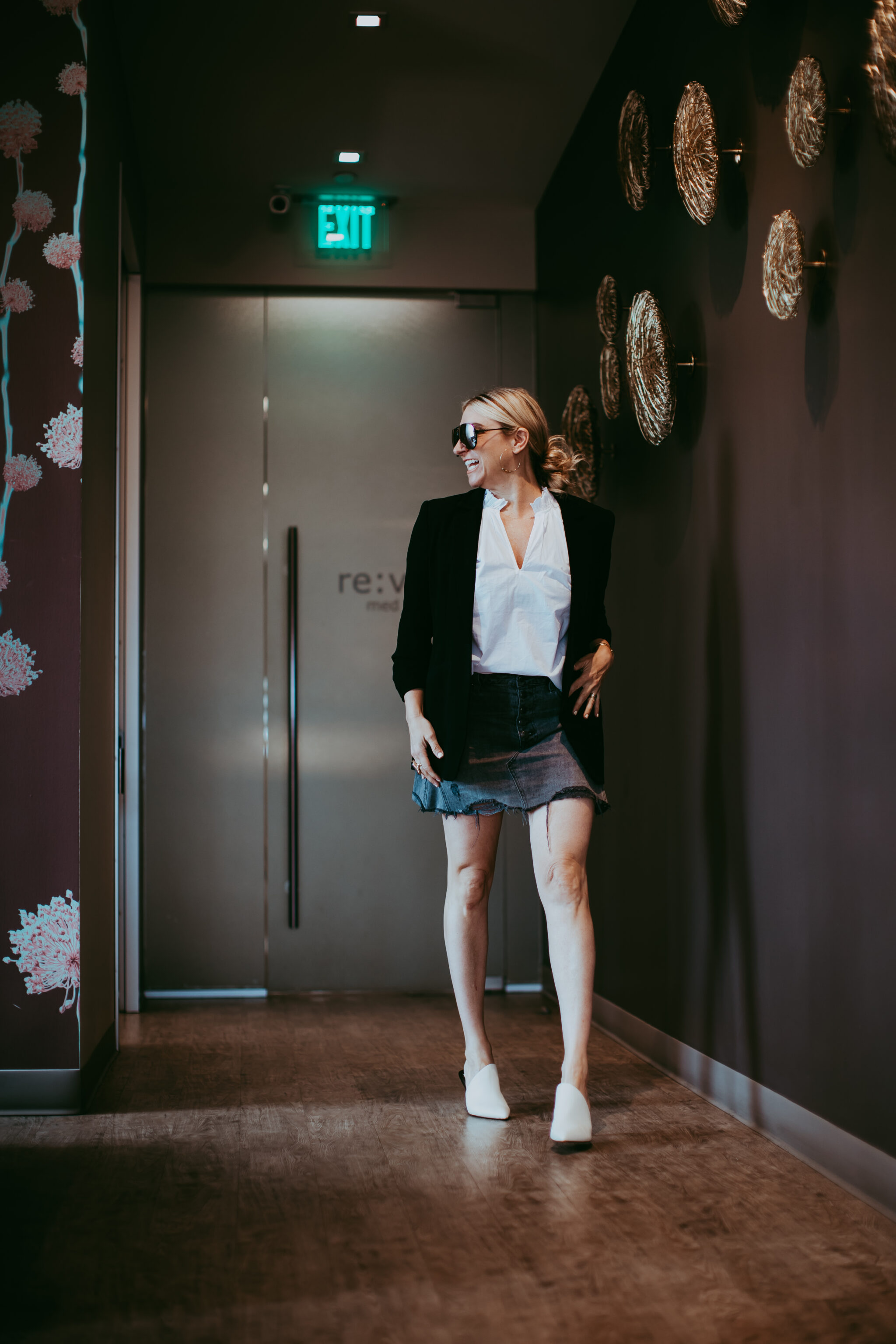 woman walking into spa