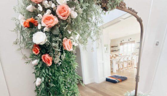 floral arrangement on mirror