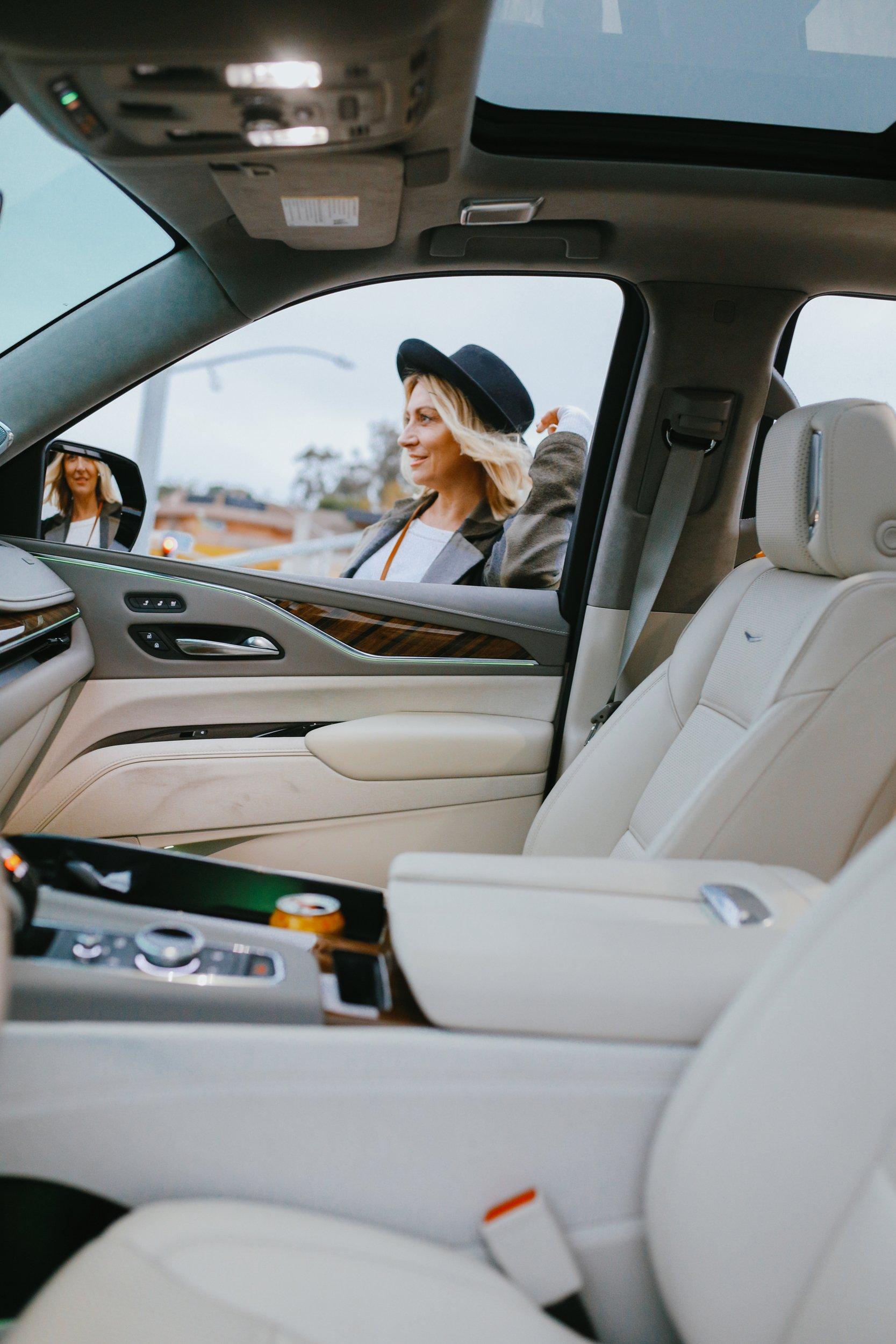 woman through car window