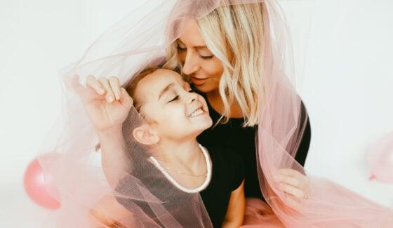 mom holding her child