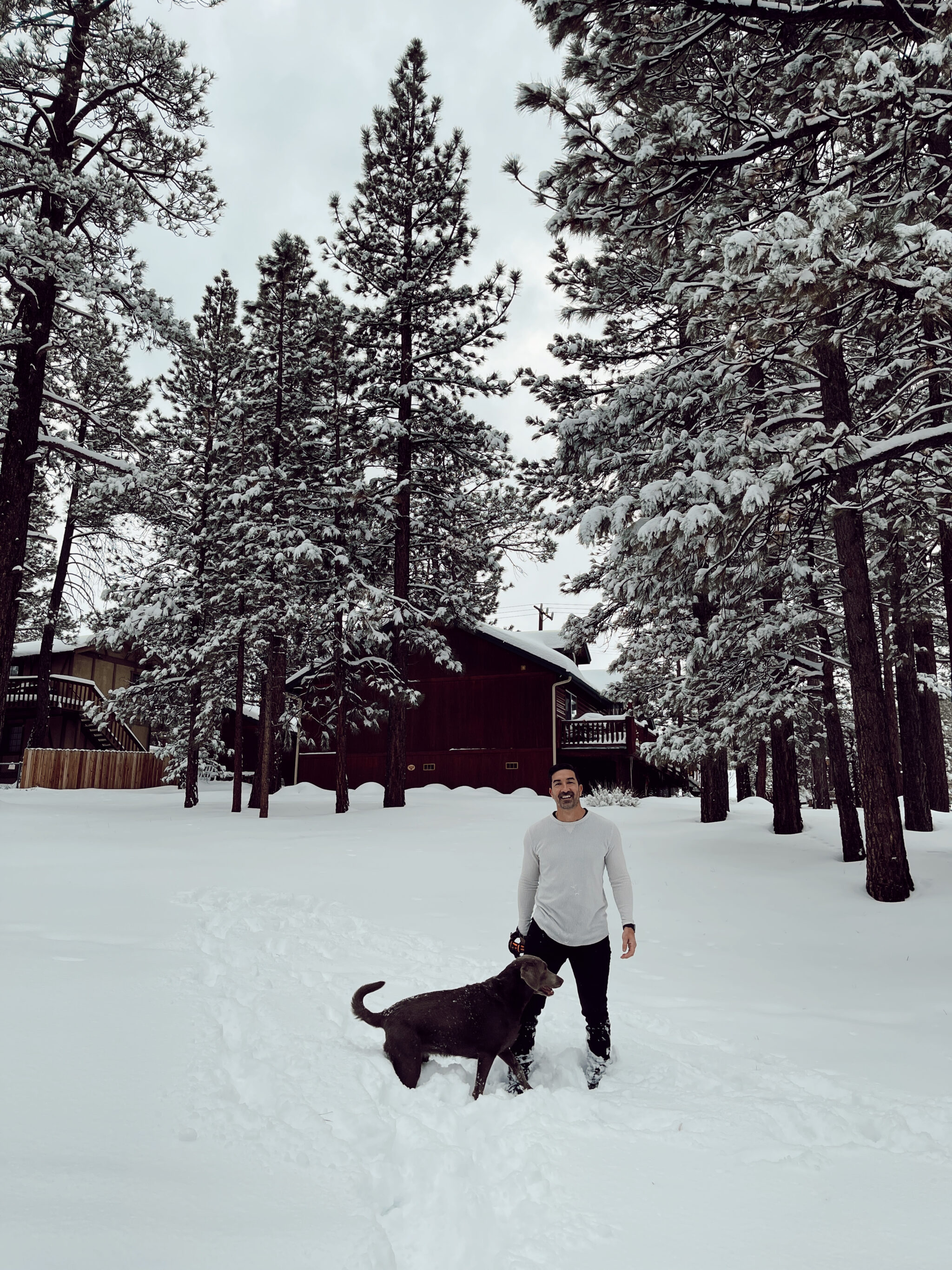man and dog in the snow