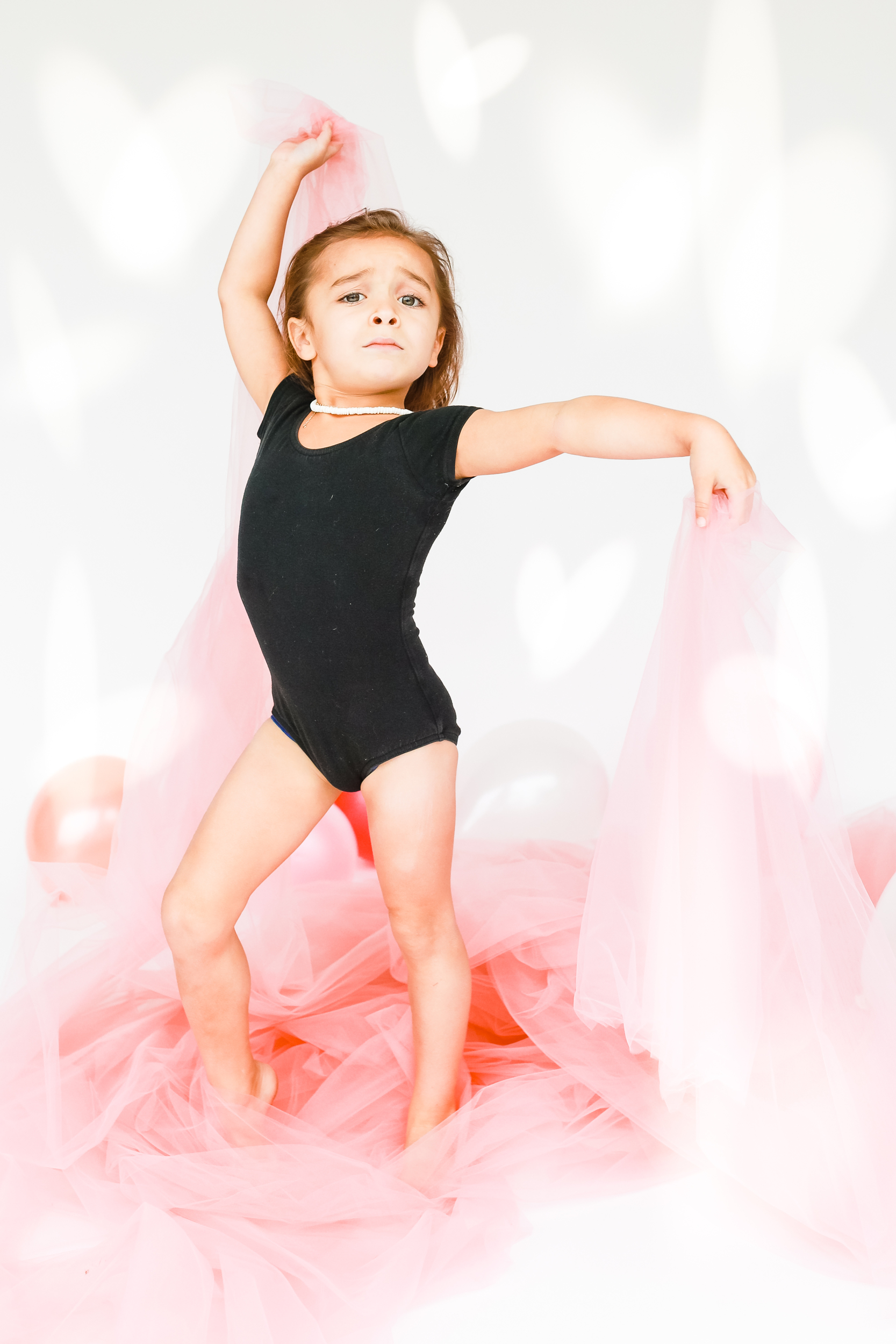 dancing toddler with pink tulle