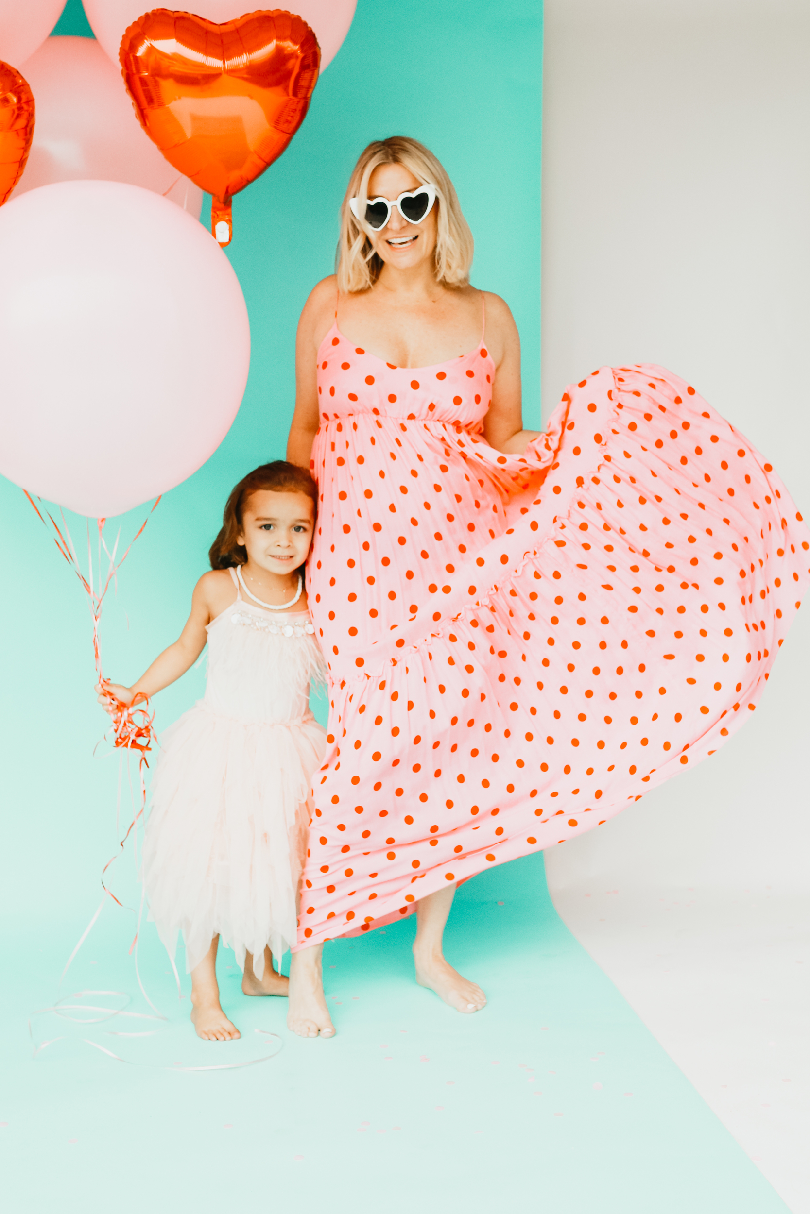 mom and child in valentines day dresses