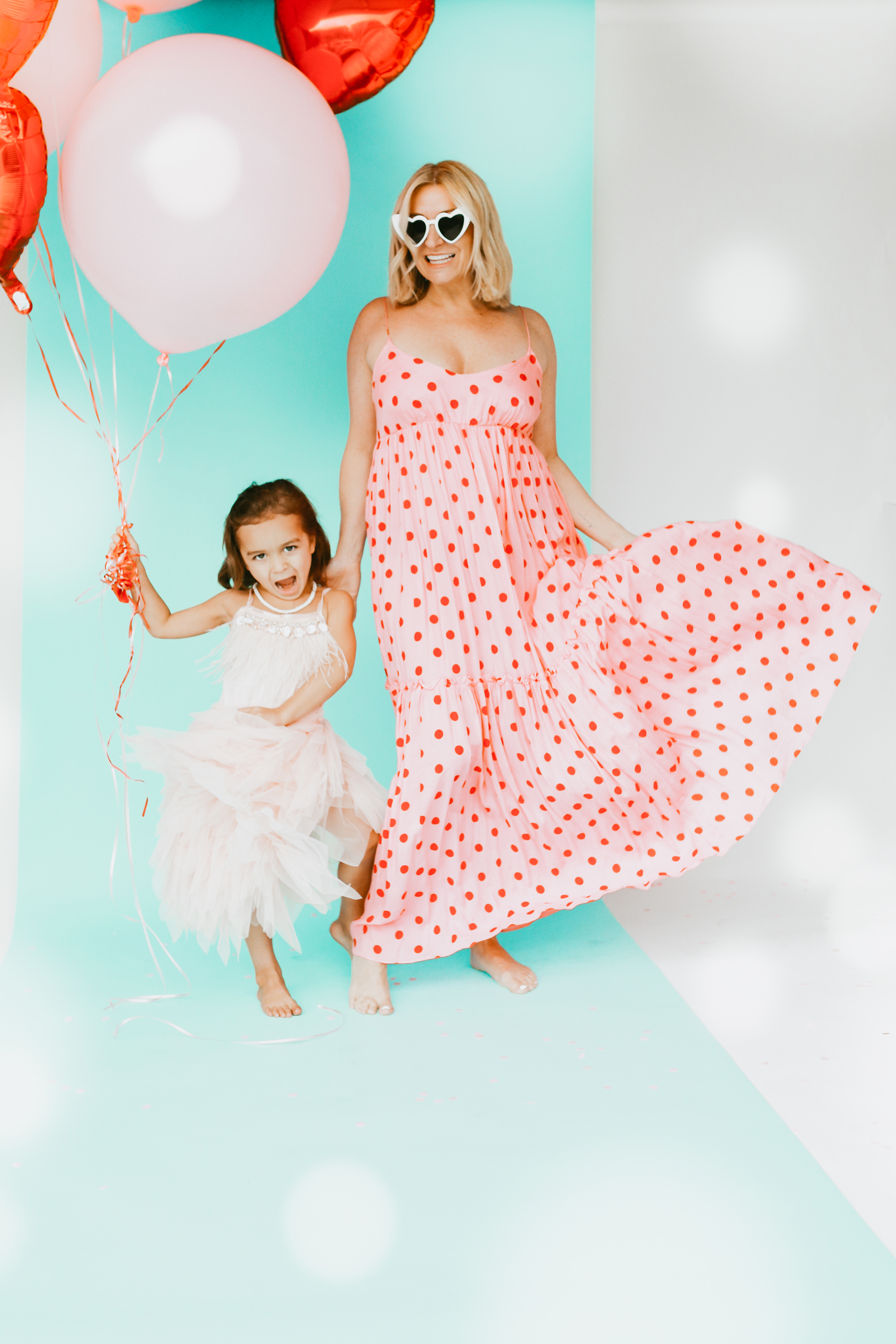 mom and child in dresses for valentines day